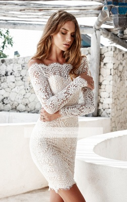Long-Sleeve Short Simple Cocktail White Mermaid Party Dresses_1