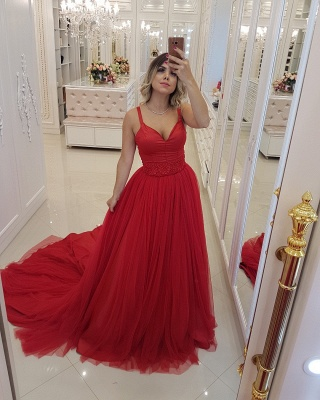 Elegant Red A-Line Prom Dresses | Spaghetti Straps Tulle Long Evening Dresses Sweep Train_4