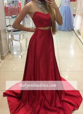 Halter Neck Crystals Red Long Eveing Gowns 2018 Sleeveless Two-Piece A-line Prom Dresses_3