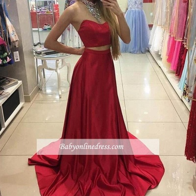 Halter Neck Crystals Red Long Eveing Gowns 2018 Sleeveless Two-Piece A-line Prom Dresses_1