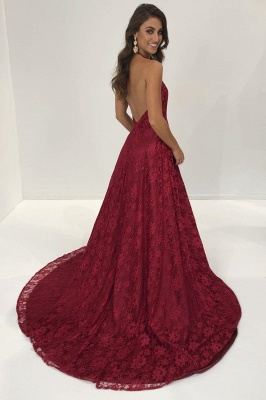 Sexy Burgundy Lace Prom Dresses | Deep V-Neck Backless Evening Gowns_3