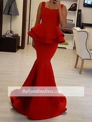 Sexy Red Straps Mermaid Prom Dress Square Ruffles Evening Gowns_3
