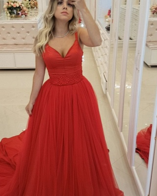 Elegant Red A-Line Prom Dresses | Spaghetti Straps Tulle Long Evening Dresses Sweep Train_5