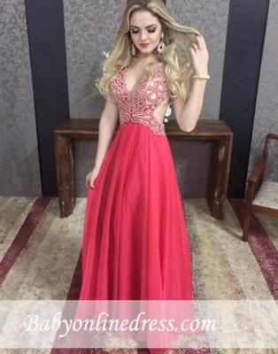 Elegant V-neck A-line Floor-length Crystal Chiffon Sexy Backless Evening Dress_3