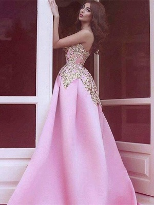 Elegant Strapless Sheath Prom Dresses Appliques Short Skirt Evening Gowns_4