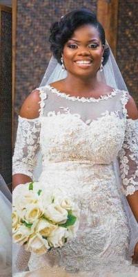 Elegant Scoop Appliques Mermaid Tulle Wedding Dress with Half Sleeves_3