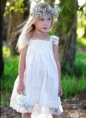 Crisscross Cute Flower Capped-Sleeves Back Girls Dresses_2
