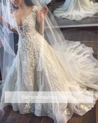 Gorgeous Sleeveless Princess Lace Appliques Wedding Dresses_1