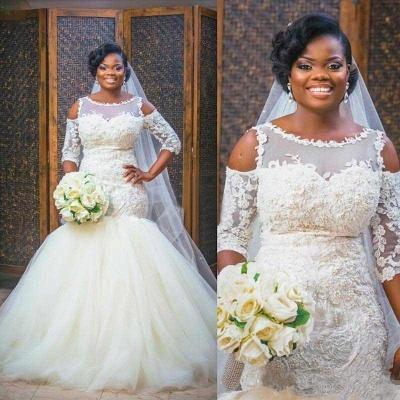 Elegant Scoop Appliques Mermaid Tulle Wedding Dress with Half Sleeves_4