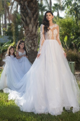 Modest Lace appliques Wedding Dress Tulle A-line Long-sleeve Bridal Gowns_2