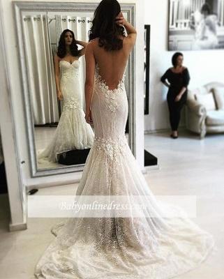 Sexy Sweetheart Mermaid Lace Sweep Train Backless Wedding Dresses_1