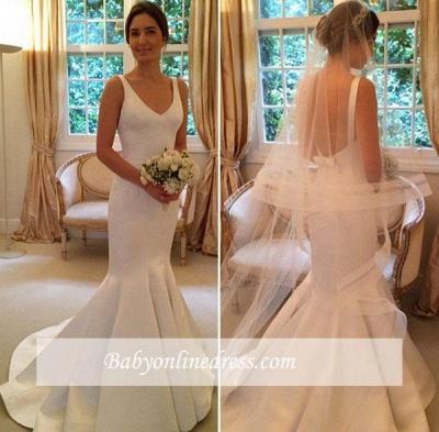 V-Neck Sleeveless Open Back Mermaid Elegant Wedding Dresses_1