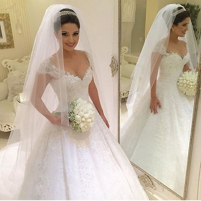 Gown Capped-Sleeves Ball Gorgeous Beading Wedding Dresses_4