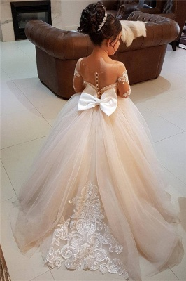 Long-Sleeve Gown Flower Romantic Ball Lace Girls Dresses