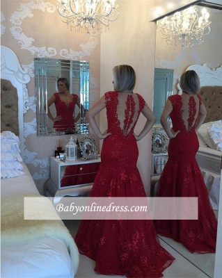 Mermaid Pearls Cap-Sleeve Lace Red V-neck Delicate Prom Dress_1