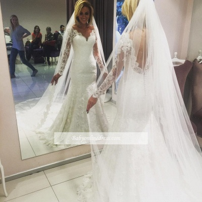 Glamorous Lace V-Neck Mermaid Wedding Dresses with Long Sleeves_1