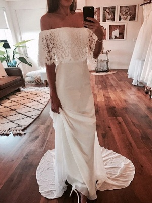 Chic Off-The-Shoulder Beach Wedding Dresses | Simple Lace Chiffon A-Line Bridal Gowns_1