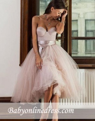 A-line Ankle-length Tulle Sweetheart Sashes Bridemaid Dress_3