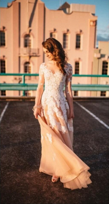 Hot Sheer Long Sleeves Vintage Wedding Dresses Lace Tulle Bridal Gown 2018_1