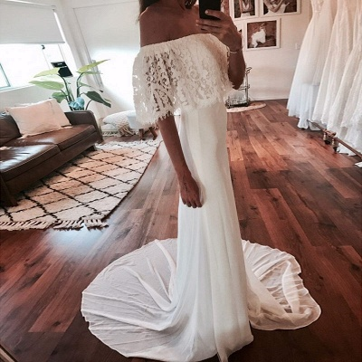 Chic Off-The-Shoulder Beach Wedding Dresses | Simple Lace Chiffon A-Line Bridal Gowns_3