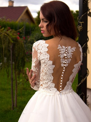 Glamorous Tulle Long Sleeves Lace Princess Wedding Dress with Zipper Button_3