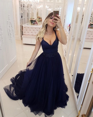 Sexy Dark Navy Spaghetti Straps A-Line Evening Dresses | Beaded Tiered Tulle Long Prom Dresses_3