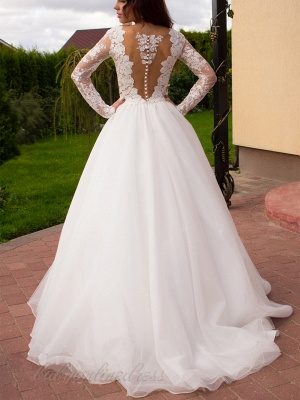 Glamorous Tulle Long Sleeves Lace Princess Wedding Dress with Zipper Button_4
