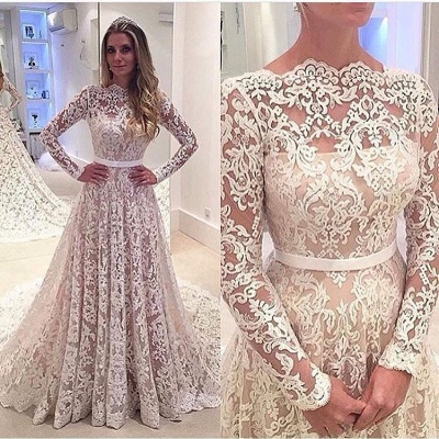 Bowknot Long-Sleeves A-Line Backless Lace Elegant Wedding Dresses_4