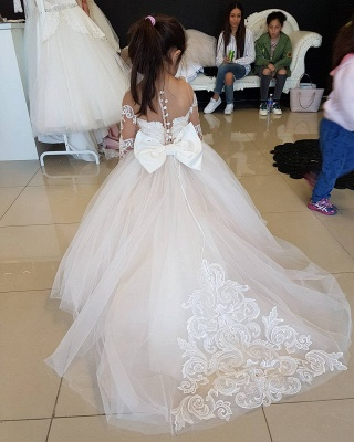 Long-Sleeve Gown Flower Romantic Ball Lace Girls Dresses_4