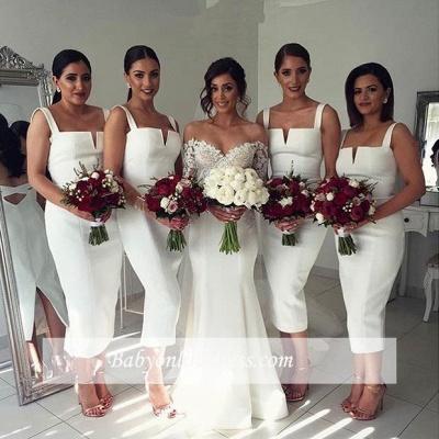 Modest Sleeveless Tea-Length White Straps Bodycon Bridesmaid Dress_1