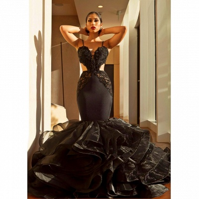 Sexy Black Mermaid Prom Dresses | Spaghettis Straps Cutaway Sides Evening Gowns with Ruffles Train_3