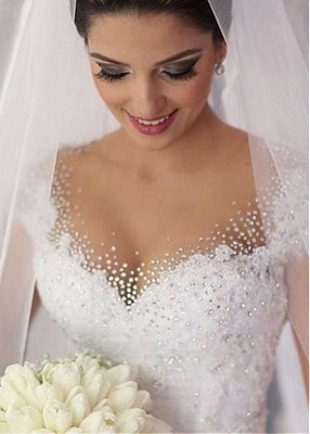 Gown Capped-Sleeves Ball Gorgeous Beading Wedding Dresses_3