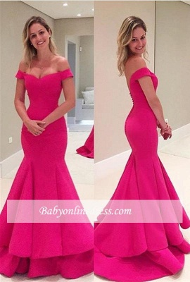 2018 Fuchsia Short Sleeves Tiered Mermaid Off-The-Shoulder Prom Dress BA4239_3
