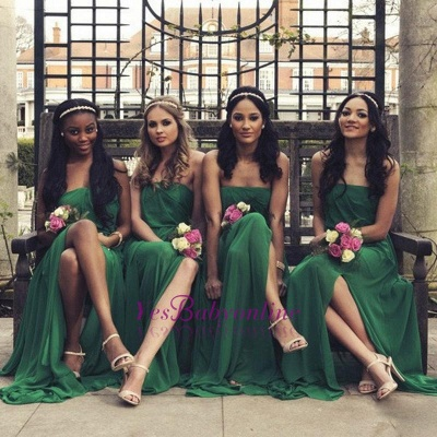 Chiffon A-line Front-Split Sleeveless Sweep-Train Sexy Strapless Bridesmaid Dress_3