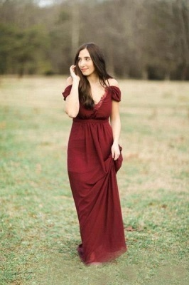 Elegant Burgundy Chiffon Bridesmaid Dresses | Off-the-Shoulder A-line Wedding Party Dress_5