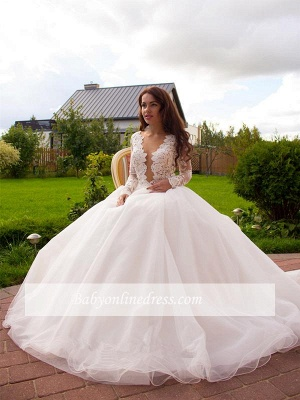 Glamorous Tulle Long Sleeves Lace Princess Wedding Dress with Zipper Button_1