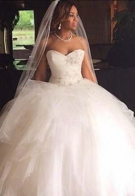 New Arrival Sweetheart Tulle Appliques Ball Wedding Dresses_2