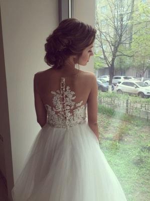 A-line Wedding Dresses Sheer Lace Appliques Top Elegant Bridal Gowns_4
