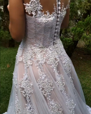 Luxury Pearls Wedding Reception Dress | Scoop Sleeveless Lace Appliques Bridal Gowns Sweep Train_5