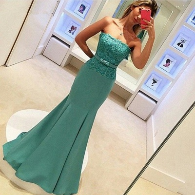 2018 Delicate Strapless Mermaid Prom Dress Sleeveless Lace Evening Gown with Bow_3