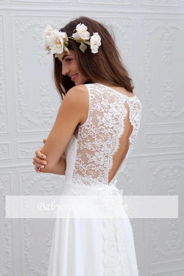 Summer Beach A-line Wedding Dresses | White Lace Chiffon Bowknot Bridal Gowns_1