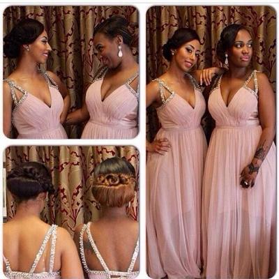 Chiffon Beading-Straps Pink V-Neck A-line Bridesmaid Dresses_3