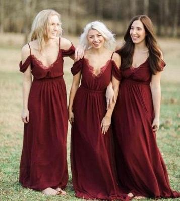 Elegant Burgundy Chiffon Bridesmaid Dresses | Off-the-Shoulder A-line Wedding Party Dress_4