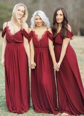 Elegant Burgundy Chiffon Bridesmaid Dresses | Off-the-Shoulder A-line Wedding Party Dress_1