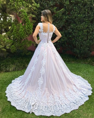 Luxury Pearls Wedding Reception Dress | Scoop Sleeveless Lace Appliques Bridal Gowns Sweep Train_3