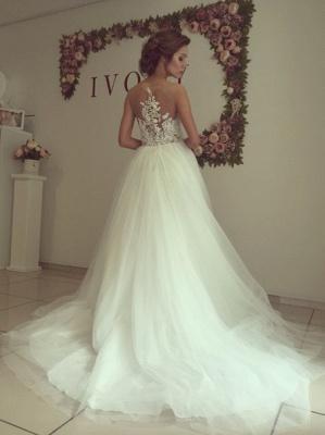 A-line Wedding Dresses Sheer Lace Appliques Top Elegant Bridal Gowns_5