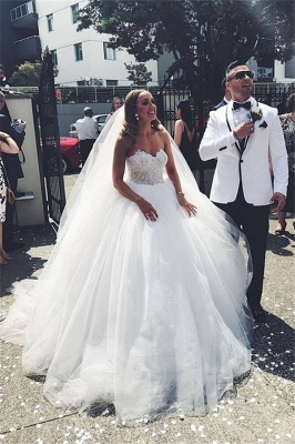Dream Sweetheart Applique Floor Length Ball Gown Wedding Dress | Ruffles Bridal Gown