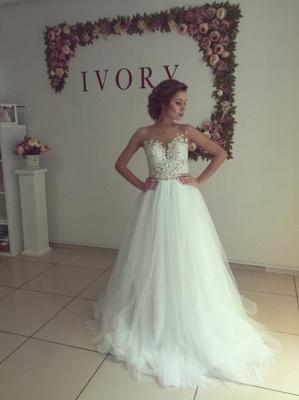 A-line Wedding Dresses Sheer Lace Appliques Top Elegant Bridal Gowns_1
