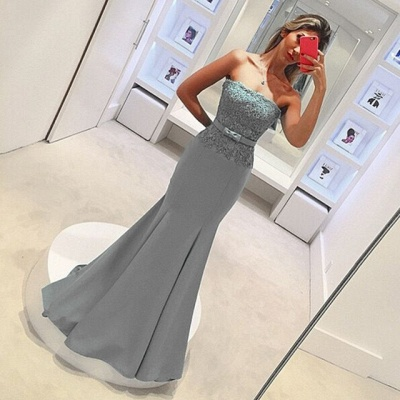 2018 Delicate Strapless Mermaid Prom Dress Sleeveless Lace Evening Gown with Bow_4
