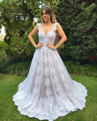 Luxury Pearls Wedding Reception Dress | Scoop Sleeveless Lace Appliques Bridal Gowns Sweep Train_6